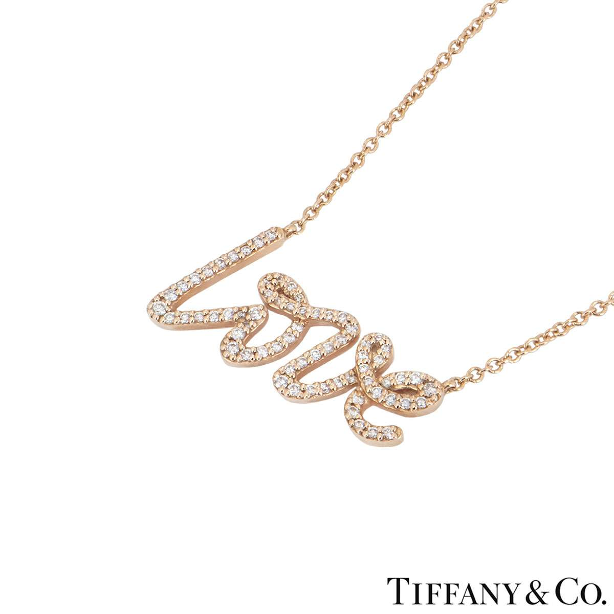 Tiffany & Co. Rose Gold Diamond Love Necklace